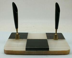 Art Deco double pen holder. (Base B&W check marble. Holders bakelite-brass.)